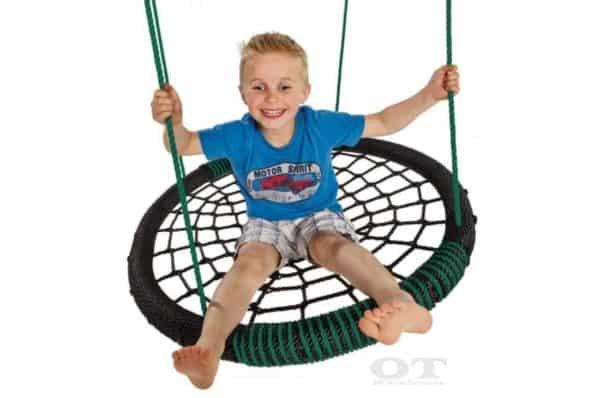 green web spider mesh swing