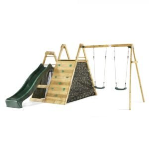 climbing frame with slide and swings