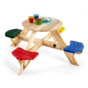 round wooden table set